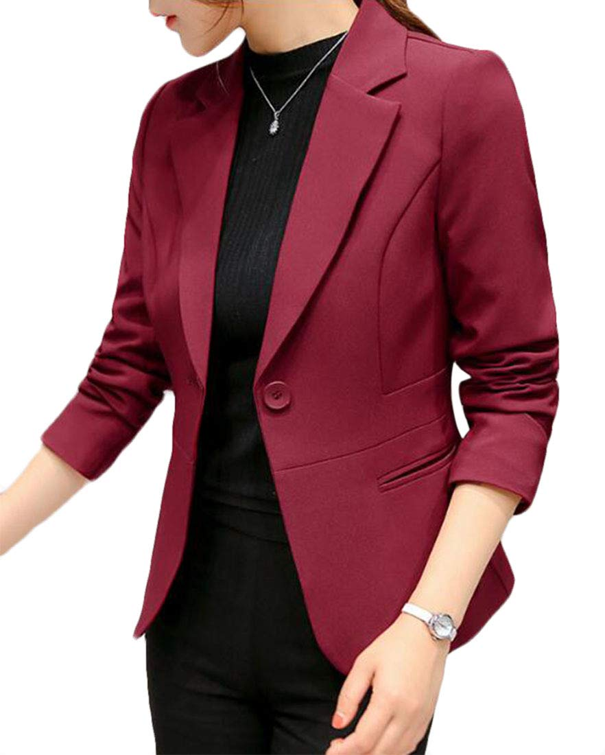 Domple Women's 3/4 Ruched Sleeve Open Front Lightweight Work Office Blazer Jacket one US L