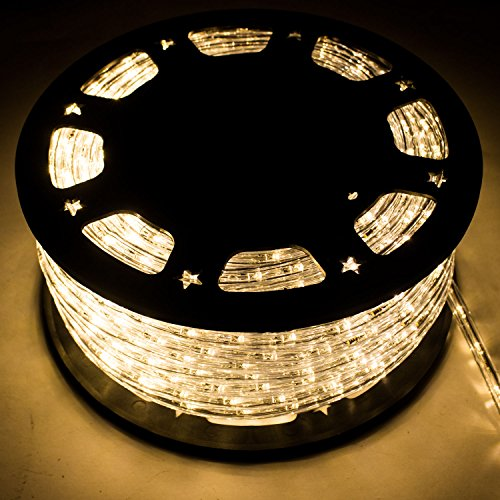 150FT LED Rope Light Home In/Outdoor Garden Party Xmas Lighting Warm White with flexible PVC tubing Decor by WALCUT
