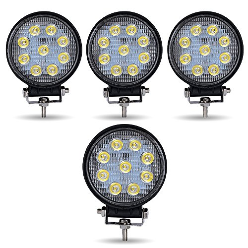 TURBO SII 4Pack 4inch 27W Flood Round Pods Led Work Light Driving Fog Light Offroad Light For Tractor Off-Road Suv Boat 4X4 Jeep JK 4Wd Truck 12V-24V by TURBOSII