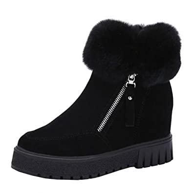 b64b101224936 Amazon.com | FENZL Women Winter Warm Zipper Short Snow Boots | Snow ...