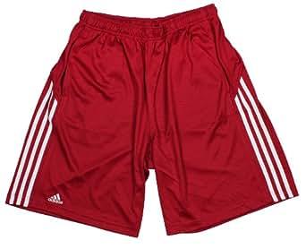 Adidas Mens 3-stripe Athletic Mesh Shorts (Small, Red)