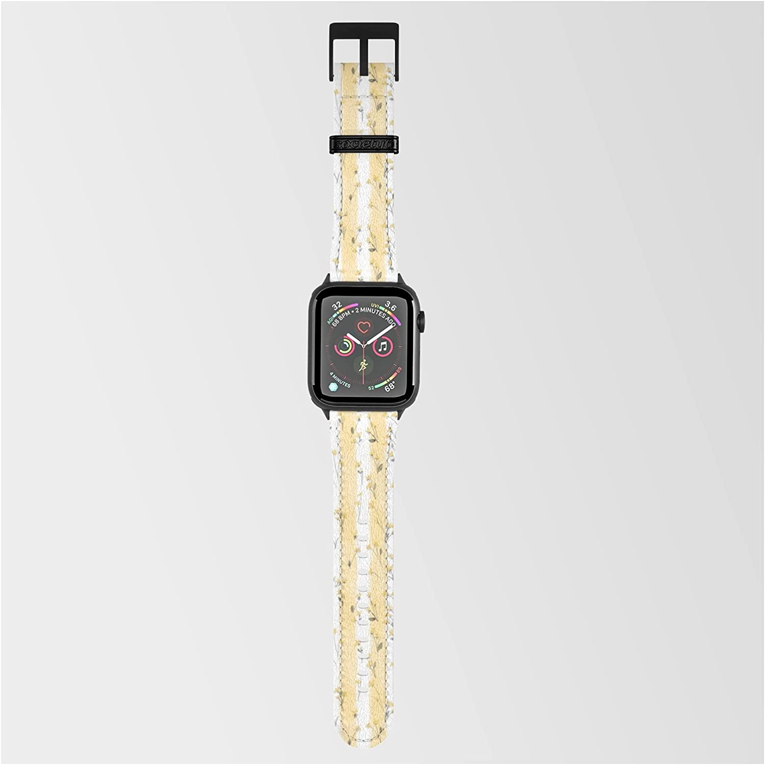 Buttercup Yellow Flower Blossoms On Butter Yellow Streaky Stripes by Podartist on Smartwatch Band