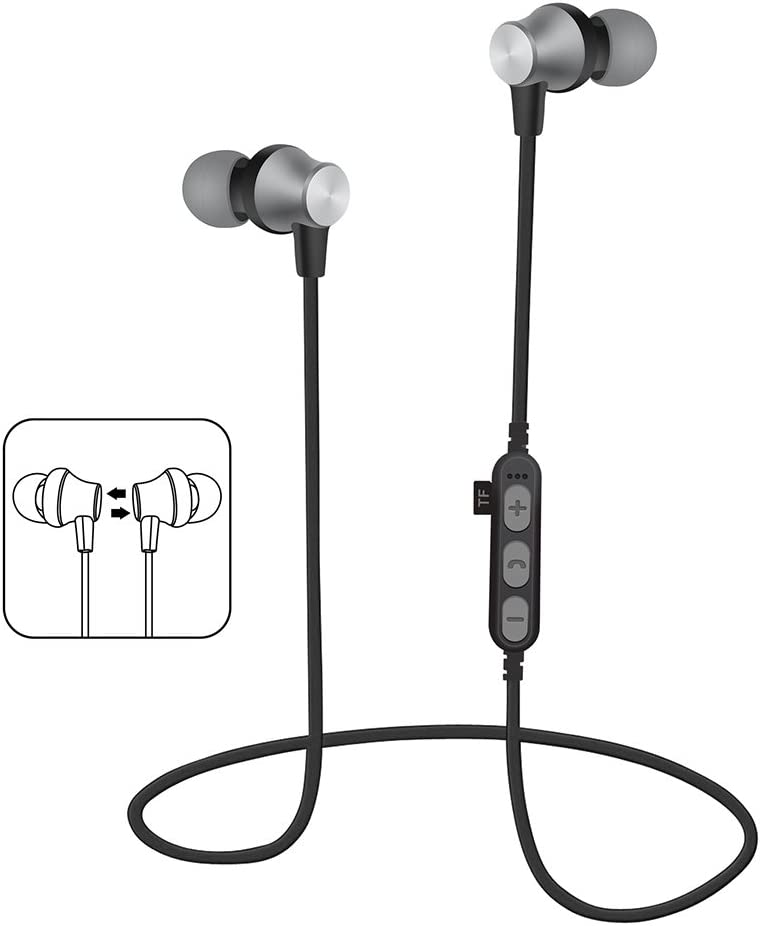 Amazon Com Huntgold Magnetic Rechargeable Stereo Wireless In Ear Headset Bluetooth Headphone For Sport Nfc Multipoint Connection Voice Prompt Gray