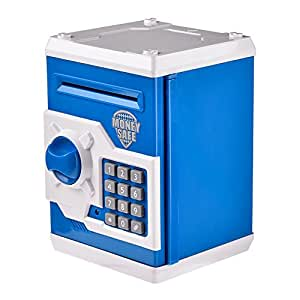 Children Piggy Bank money safe box small savings box with password for Cash Coin, gift for birthday and Christmas (Blue with white)