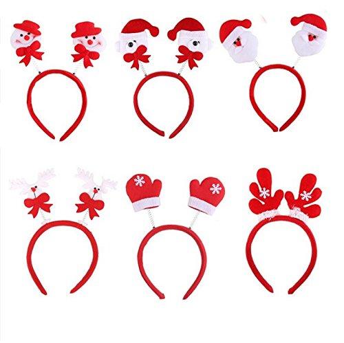 EBTOYS Christmas Headband Featuring Santa Claus,Snowman,Bear, Raindeer, Gloves, Antler Hair Band Christmas Party Favors,Pack of (Raindeer Hats)
