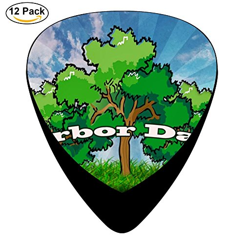 Hidui Guitar Picks Printed Arbor Day Classic Guitar Celluloid Plectrums Bass, 12 Pack