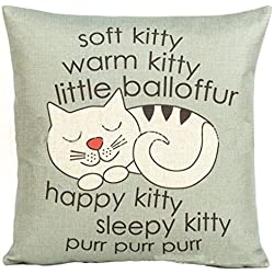 Voberry Happy Sleepy Kitty Print Cat Pillowcase Cushions Sofa Decorative Gift 18x18inch (Gray)