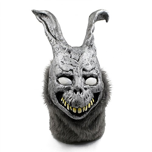 Meelanz Halloween Rabbit MASK Latex Overhead With Fur Halloween Prop, One Size