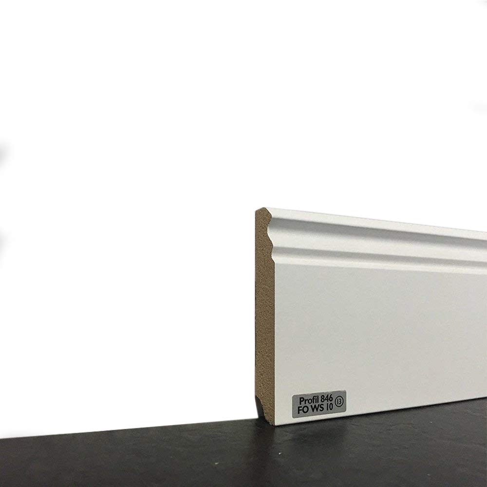 Fu/ßleisten mit MDF Kern in wei/ß Wandabschlussleiste mit Kabelkanal Fu/ßbodenleisten verf/ügbar in den Ma/ßen 2,40m x 115mm MADE IN GERMANY Sockelleisten im Hamburger-Profil leicht zu montieren