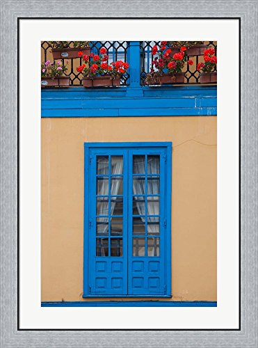 Spain, Oviedo, Plaza Fontan, Building Detail by Walter Bibikow / Danita Delimont Framed Art Print Wall Picture, Flat Silver Frame, 27 x 36 inches by Great Art Now