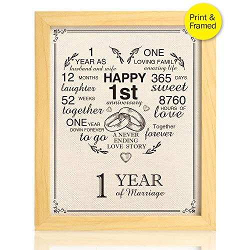 Ihopes Framed 1st Anniversary Heart Burlap Print Decorations, First Year for Men, for Women, for Couple, 8x10inch - Heart Framed Print