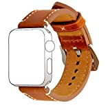 Teotora Apple watch band, Premium Vintage Genuine Leather 42mm Dark Brown strap with Secure Metal Clasp Buckle.