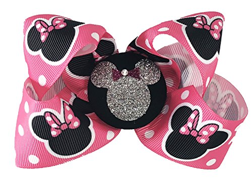 Minnie Mouse Glitter Hair Bow Clip, Hot Pink Disney Vacation or Cruise, Girls -