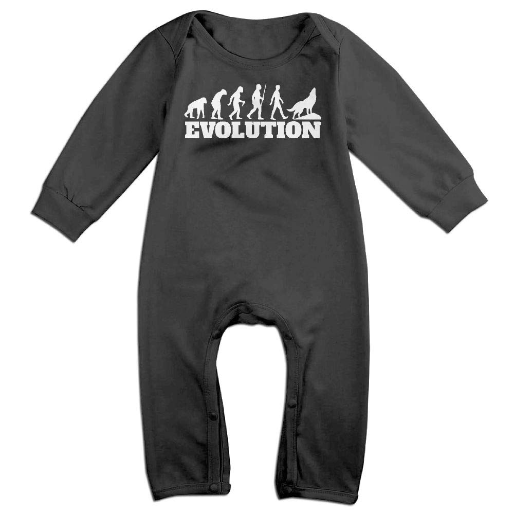 Evolution Wolf Long Sleeve Infant Baby Boy Girl Baby Romper Jumpsuit Onsies for 6-24 Months Bodysuit