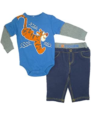 2-pc Tigger L/S Bodysuit & Denim-Look Pants Set