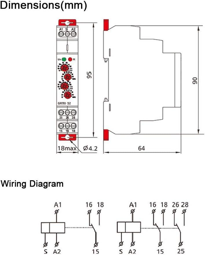 Relais de minuterie de cycle GRT8-S 2 Mini minuterie de cycle asym/étrique ON//OFF R/ép/étition du temps de cycle Relais AC 220V