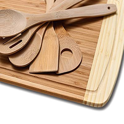 Organic Bamboo Cutting Board with Juice Grooves - Thick and Extra Large - Perfect Gift Idea