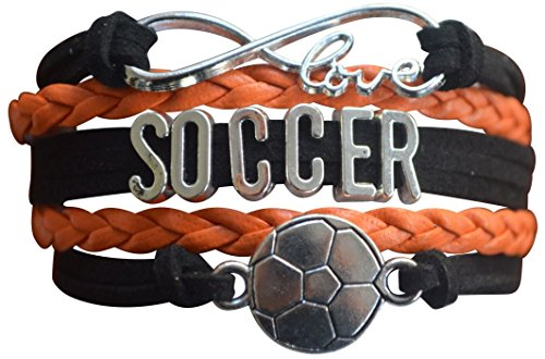 Soccer Charm Bracelet - Infinity Love Adjustable Charm Bracelet with Soccer Charm for Soccer ()