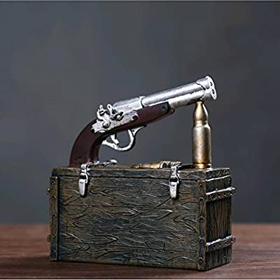 YOURNELO Novel Cute Vintage Suitcase Gun Bullet Desk Ornament Toy Bank Coins Money Box Piggy Bank for Boys Girls by YOURNELO that we recomend personally.
