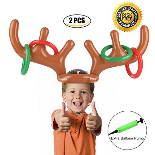PROACC Gonflable Reindeer Antler Ring Toss Jeu Noël Party Toss Jeu pour la Famille Enfants Bureau Xmas Fun Games (2 Antlers 8 Rings)