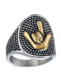 HIJONES Men's Stainless Steel ILY Love You Hand Sign Rock Ring