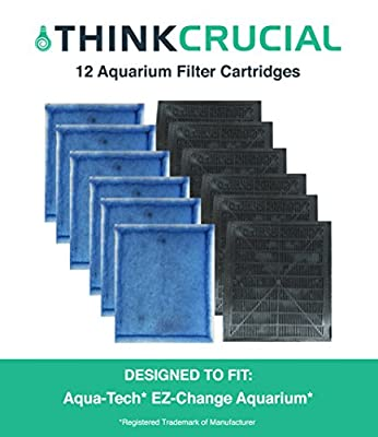 12 Odor Reducing Aqua-Tech EZ-Change #3 Aquarium Filter Cartridge Replacement, 4.50 x 6 x 6.75 in., Fits Aqua-Tech 20-40, 30-60 Power Filters, by Think Crucial from Think Crucial