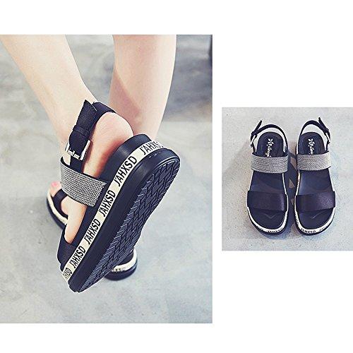 Fashion Toe Green Shoes Open Shoes Size 5 ZHIRONG UK3 Beach Platform Roman Summer Shoes Black Sandals CN35 5CM Student Women's Shoes Color EU36 qx4wFnfg