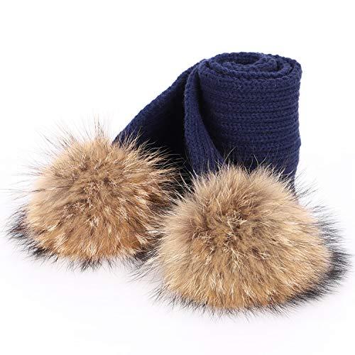 Noon-Sunshine∩ 2 Pieces Children's Winter hat Hats for Girls Bonnet Enfant Child's hat,Navy C,