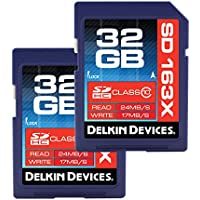 Delkin 32 GB SDHC 163X Class 10 Memory Card, 2 Pack (DDSD163-32 GB(2X32))