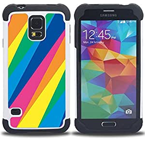 BullDog Case - FOR/Samsung Galaxy S5 I9600 G9009 G9008V / - / LINES PATTERN BLUE GREEN YELLOW PINK /- H??brido Heavy Duty caja del tel??fono protector din??mico - silicona suave