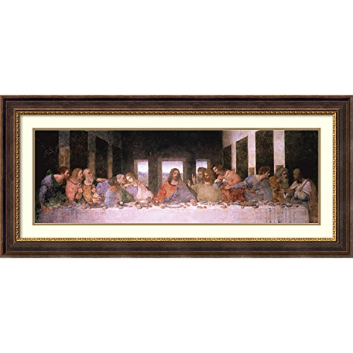 Framed Art Print, 'The Last Supper (Detail)' by Leonardo da Vinci: Outer Size 45 x 21'' by Amanti Art
