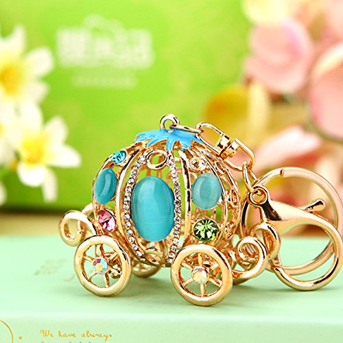 (Glamor Hollow Design Opal pumpkin carriage key chain Cinderella Charms women Car Trinket Female's gift key ring Key Holder key fob bag fashion accessories (Light Blue))