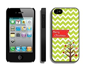 Diy Design Iphone 4S Protective Skin Case Chevron Christmas tree Black iPhone 4 4S Case 1
