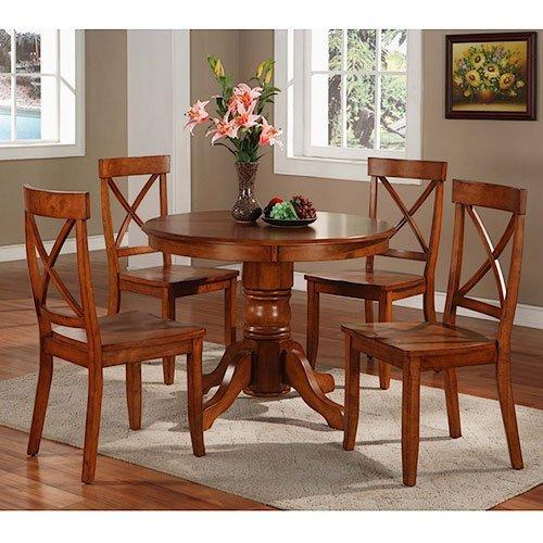 NEW 5 Piece Pedestal Dining Set, Cottage Oak (Home Styles Round Pedestal)