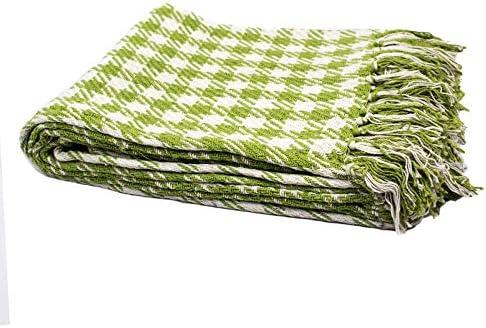 Homevibes Manta para Sofa con Flecos 100% Algodon Varios Modelos, Manta para Comedor, Manta con Flecos, Medidas 125x150cm (Blanca y Verde): Amazon.es: Hogar
