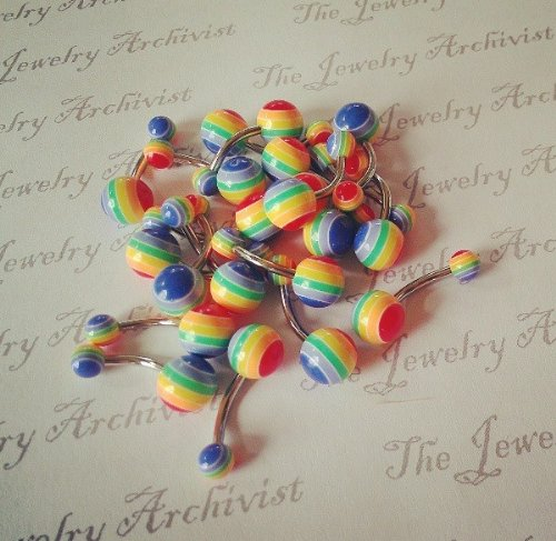 Gay Pride Rainbow Brite ''N'' Acrylic Striped Belly Button Ring (14g, 3/8'', SSS) by The Jewelry Achivist (Image #1)