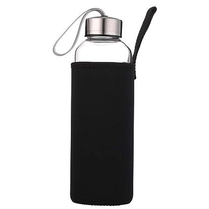 sunkey Deporte Botella Agua Cristal 550ml 750ml 1 Litro Reutilizable de Claro Vidrio Borosilicato sin Bpa Tapa de Acero Inoxidable Portátil con Funda ...