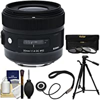 Sigma 30mm f/1.4 ART DC HSM Lens with 3 UV/CPL/ND8 Filters + Tripod + Kit for Canon EOS Digital SLR Cameras