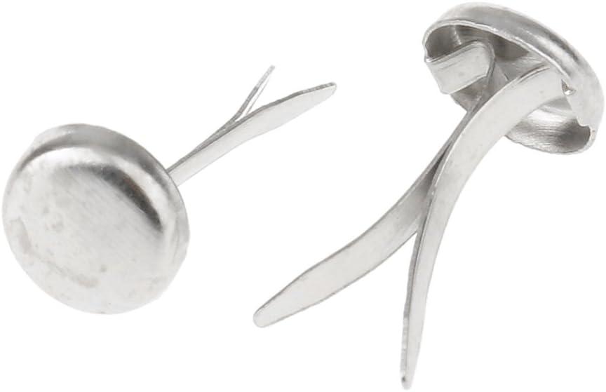 Silber 200er Set Mini Brads Rundkopf-Klammern Flachkopfklammern Musterbeutelklammern