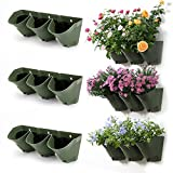 Worth Garden SELF WATERING VERTICAL Wall Hangers with Pots - Wall Plant Hangers - Each Wall Mounted Hanging Pot has 3 Pockets - 9 Total Pockets in this Set - Outdoor Self Watering Planter Set