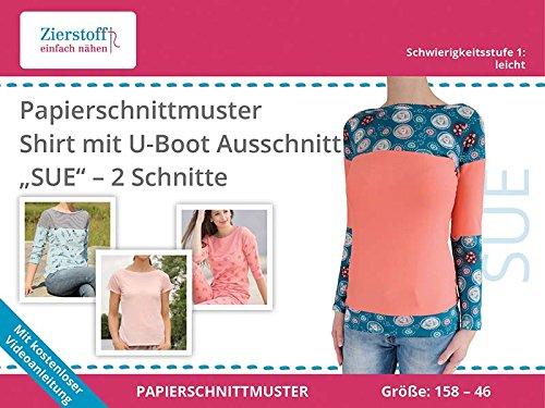 Amazon.de: Schnittmuster auf Papier, Shirt mit U-Boot Ausschnitt ...