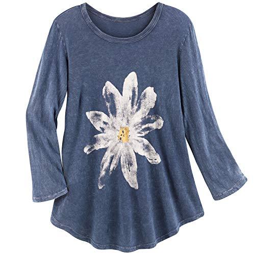 Jess & Jane Women's Watercolor Daisy Print Tunic Top - 3/4 Sleeves Shirt, Blue - Medium