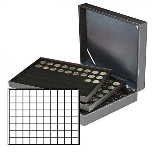 LINDNER 2365 NERA XL Münzkassette mit 3 Tableaus und schwarzen Einlagen für 240 Münzen bis 24 mm Durchmesser