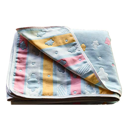 """100% Cotton Muslin Baby Toddler Blanket and Warm Crib Blanket Hypoallergenic 5-Layer Lightweight Bedding Blankets Ultra Soft Breathable Stroller Blanket 47""""x 59"""" by Moms Love-Multicolored"""