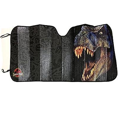 Plasticolor Jurassic Park World Logo Accordion Sunshade for your Auto Car Truck SUV Vehicle - Universal Fit Dinosaur Raptor Sunshade
