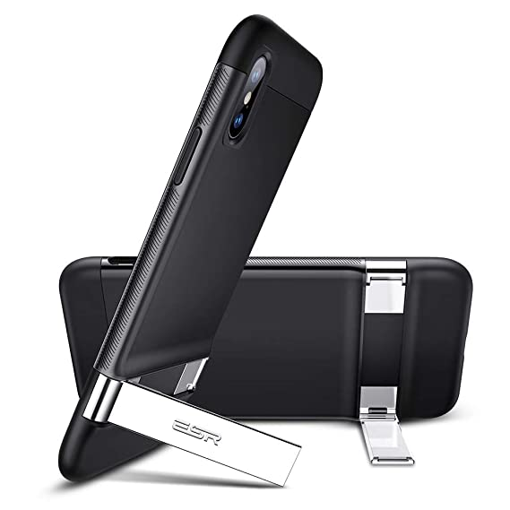 buy popular 71c6d fdc3c ESR Metal Kickstand Case for iPhone Xs/X, [Vertical and Horizontal Stand]  [Reinforced Drop Protection] Hard PC Back with Flexible TPU Bumper for The  ...