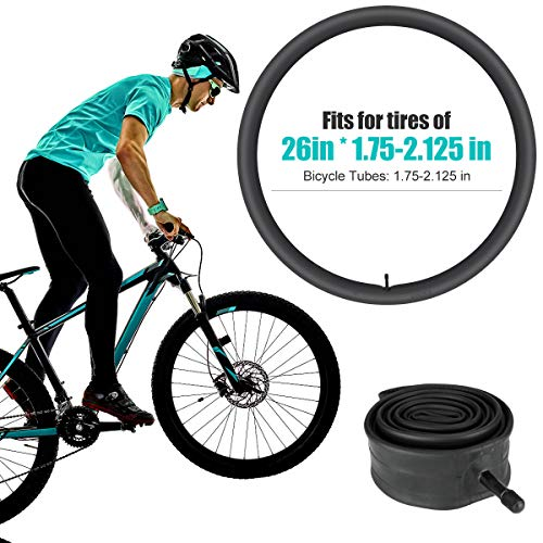 2 Pack Bicycle Tubes 26in x 1.75-2.125 Bike Tube Repair Tool Kits,3 Tire Levers,6 Self-Adhesive Round Patches, Bicycle Inner Tube Tyres Road MTB Bike Interior Tire Tube, Glueless Puncture Tube