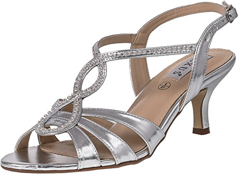 LEXUS - Sandalias de vestir para mujer Silver P.U