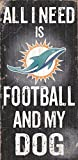 Miami Dolphins Wood Sign - Football And Dog 6''x12''