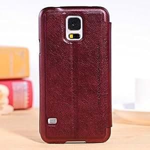 QUSECASE Carcasa Cuero del tirón la cubierta protectora Caso Tapa Funda Case Para Samsung Galaxy S5 I9600 Rojo